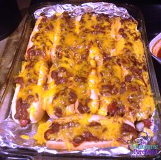 Baked Chili Cheese Hot Dogs like Sonic, but healthier! Easy-peasy preparation and clean-up (with foil)!