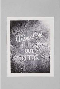 Zach Terrell For Adventure Is Out There Print from Urban Outfitters. Saved to My Wishlist. Urban Outfitters, Wall Decals, Wall Art, Wall Collage, Thing 1, Bedroom Accessories, 50 Shades Of Grey, Adventure Awaits, Adventure Quotes