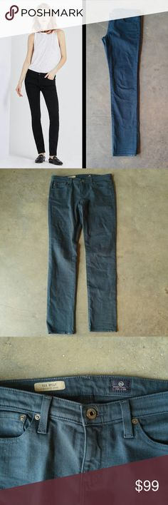 """AG The Stilt Cigarette Jeans in Sea-Soaked Peacock Adriano Goldschmied jeans, size 28 regular, in excellent condition! Green color is called 'sea-soaked peacock.' Style name is 'The Stilt.' Leg style is cigarette. Skinny and stretchy. True color is in photos 2-5. 15"""" waist, 30"""" inseam. Cover photo from AG website. Please ask any questions. No trades. Make a reasonable offer. Thanks! AG Adriano Goldschmied Jeans Skinny"""