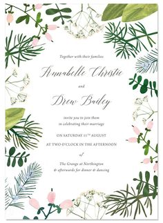 SPRING BOTANICS INVITE  | by Hollyhock Lane Lots of greenery and beautiful hand painted foliage surround this luxury wedding invitation. Printed onto beautiful lightly textured card and comes with matching save the date, rsvp, menu, table plan, place cards, table names and any other customisable stationery you may need for your wedding. Perfect for a botanical and leafy fine art wedding. #fineartwedding #luxurywedding #botanicalwedding