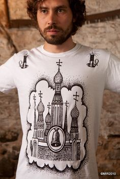 MIR049 Sabor and Svechki / Russian Criminal Tattoo T-Shirt / Black, White, Silver, Olive Drab, Navy, Red/ SM-XXL - Also Available in V-Neck