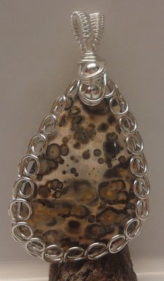Leopardskin Jasper and sterling silver by AnnukkasWearableArt, Pendant Design, Jewelry Design, Unique Jewelry, Healing Crystals, Mother Earth, Jasper, Christmas Bulbs, Pendants, Sterling Silver