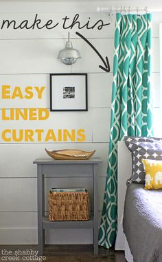 Easy Lined Curtains tutorial @Gina @ Shabby Creek Cottage