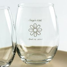 Personalized 50th Birthday Stemless Wine Glasses