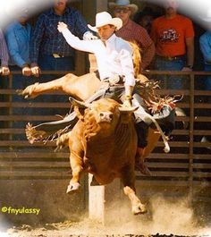 The late, legendary Lane Frost on Flying U's # 85, Hayward , California, 1989 . (Photo Credit: Fred Nyulassy.)