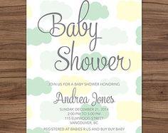 Nubes de acuarela invitación de BABY SHOWER por T3DesignsCo en Etsy