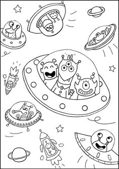 Space coloring pages for kids with rocket, printable free | Coloring ...