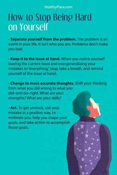 "Click to read the complete article. "" You're probably hard on yourself if you have anxiety. If thoughts about yourself make anxiety worse, your tendency to be hard on yourself needs to change. Visit."" www.HealthyPlace.com"