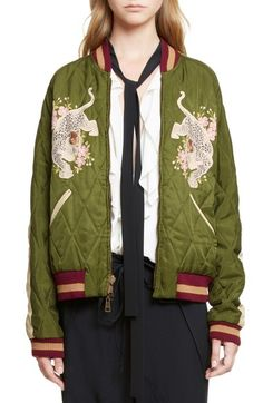 Chloé Reversible Embroidered Tech Satin Bomber Jacket available at Patterned Bomber Jacket, Flight Bomber Jacket, Embroidered Bomber Jacket, Green Bomber Jacket, Satin Bomber Jacket, Quilted Jacket, Bomber Jackets, Kendall Jenner, Alexander Wang