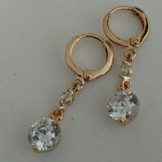 Earrings. Lovely design drop earrings white imitation gemstones with 18k gold plated jewelry. No Trade. No Hold. No PayPal. Jewelry Earrings