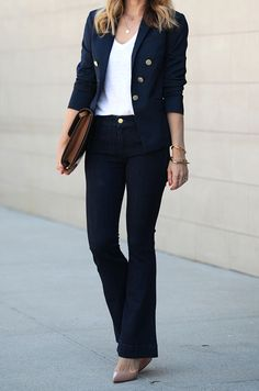 Jeans: Express ℅ Workwear Fashion, Denim Fashion, Fashion Outfits, Women's Fashion, Fashion Tips, Denim Blazer, Denim Outfit, Trouser Jeans, Brooklyn Blonde
