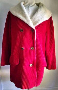 Vtg Womens Coat Red Ribbed Corduroy Faux Fur Elizabeth Gratia Regina Buttons L #Unbranded