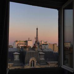 Paris Eifel tower outside the window