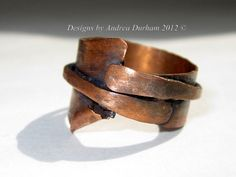 this would be a cool way to use up metal scraps      Copper ring OOAK Industrial chic by AndreaDurhamDesigns on Etsy