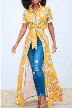 The maxi dress features floral print and waist tie. The maxi dress features turn-down collar and short sleeve. The maxi dress features high slit. The maxi dress is perfect for vocation and daily wear. African Wear, African Fashion, Kimono Fashion, Fashion Dresses, Dress Over Pants, Laced Up Shirt, Short Sleeve Dresses, Dresses With Sleeves, Dress Brands