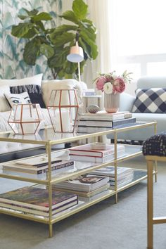 Living Room Glass Tables living room, coffee table styling, white and gold, @homegoods