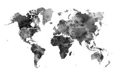 Abstract Black and White World Map, Art Print, Watercolor Painting  Watercolor Print