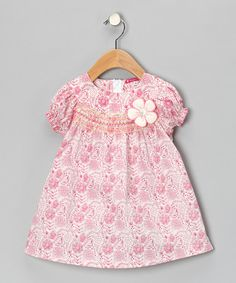 Take a look at this Pink & White Shirred Floral Dress - Girls by Maggie Peggy on #zulily today!
