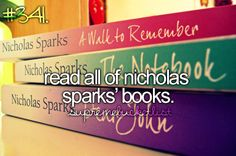 read all of Nicholas sparks' books