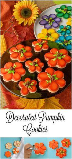 Decorated Pumpkin Cookies The Bearfoot Baker Thanksgiving Cookies, Fall Cookies, Cut Out Cookies, Iced Cookies, Pumpkin Cookies, Cute Cookies, Holiday Cookies, Sugar Cookies, Leaf Cookies