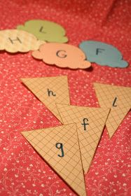 A fun way to teach upper and lowercase letters. Ice cream scoops.
