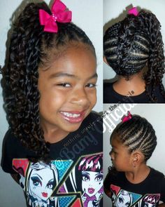 African hairstyle - cornrows or curls into a high side ponytail or an upside down braid into a high ponytail