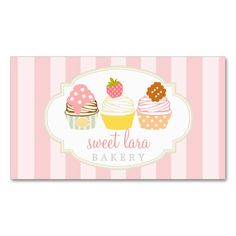 Bakery Cafe Retro Sweet Cupcakes Cute Boutique Double-Sided Standard Business Cards (Pack Of 100). I love this design! It is available for customization or ready to buy as is. All you need is to add your business info to this template then place the order. It will ship within 24 hours. Just click the image to make your own!