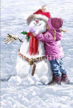 illustrations de richard mcneil - Page 5 Christmas Scenes, Christmas Snowman, Family Christmas, Christmas Crafts, Vintage Christmas Images, Christmas Pictures, Winter Kids, Winter Art, Painting For Kids