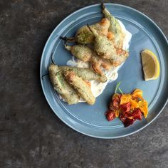Squash Blossoms & Shishito Peppers --> Stuffed w/ Ricotta & Fried + Lemon Yogurt KPPO Rock Hill