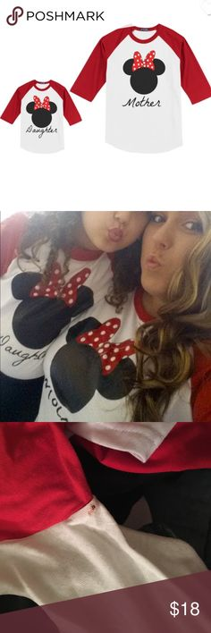 ✨Matching Shirts ✨ Mother daughter Minnie Mouse shirts. Purchased for a recent Disney trip, we wore them for about 3 minutes before it was too hot to live. There's a small stain on the daughter shirt, under the armpit which isn't noticeable when on. Because, kids. The adult is an XL and the child's is a size 7 (XS) Tops Tees - Short Sleeve