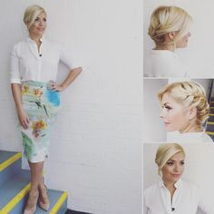 Tuesday's look at skirt by ❤️ shirt by and hair and makeup by xxx Up Hairstyles, Wedding Hairstyles, Beautiful Hairstyles, Hairdos, Holly Willoughby Style, Holly Willoughby Outfits, Date Night Outfit Summer, Blonde Women, Business Outfits