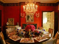 dining room table setting colors