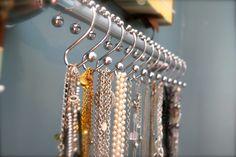 shower hook necklace organizer
