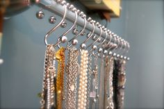 shower hook necklace organizer...no more tangled necklaces!