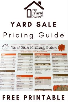 Not sure how to price stuff for a yard sale? Use our free, printable yard sale pricing guide to get it right, so you sell a lot and make a lot. Yard Sale Signs, Garage Sale Signs, For Sale Sign, Garage Sale Organization, Organizing, Garage Sale Pricing, Rummage Sale, Making Ideas, Thrifting