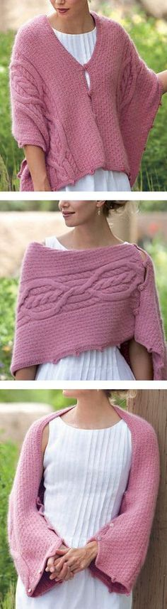 Free Knitting Pattern for Five-Way Cable Shrug - This versatile cable piece can be worn as a shrug, wrap, poncho, or stole. Designed by Lily M. Chin. 16″ wide x 54″ long (40.5 x 137 cm). Aran weight yarn
