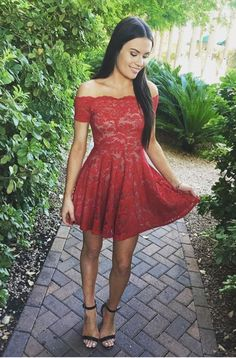 red lace short prom dresses , A-Line Off-the-Shoulder Short Sleeves homecoming dresses ,Short Red Lace Homecoming Dress