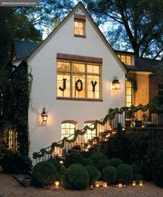 Outdoor Christmas JOY Decorating from Atlanta Homes Magazine