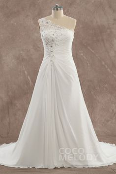 Perfect+Sheath-Column+One+Shoulder+Natural+Train+Chiffon+Ivory+Sleeveless+Lace+Up-Corset+Wedding+Dress+with+Beading+and+Appliques+24378006003
