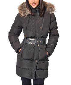 This Black Belted Puffer Coat by So Nice Collection is perfect! #zulilyfinds
