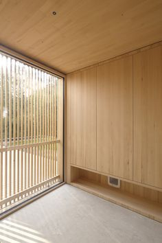 Image 10 of 28 from gallery of L House / Juri Troy Architects. Photograph by Juri Troy Wooden Facade, Wooden Slats, Vienna Woods, Wooden Room, Geothermal Energy, Outdoor Spaces, Outdoor Decor, Floor To Ceiling Windows, Troy
