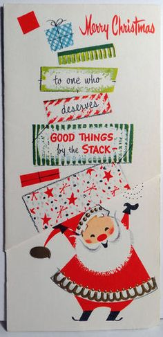 1950s  Mid Century Modern Santa w Gifts Vintage Christmas Card
