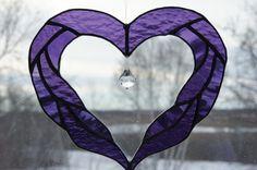 Royal Purple Heart Suncatcher by StainedGlassByBev on Etsy, $30.00