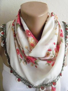 Turkish Traditional YemeniOyaFloral Cotton Scarf by colourfulrose, $22.90