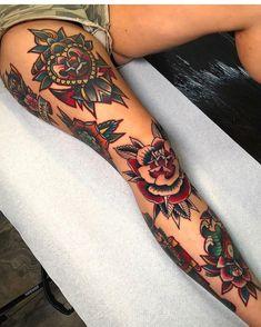 New Ideas Tattoo Leg Women Old School - Cute Tattoos Tattoo Girls, Girl Leg Tattoos, Girls With Sleeve Tattoos, Sleeve Tattoos For Women, Tattoo Women, Male Leg Tattoos, Dope Tattoos, Trendy Tattoos, Body Art Tattoos