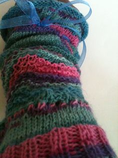 Decided to design a new pattern for the knitted arm warmers. Finished with an organza ribbon tie