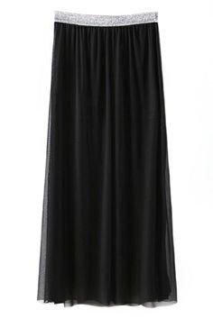 ROMWE | ROMWE Mesh Lace Lined Pleated Black Skirt, The Latest Street Fashion