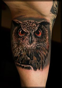 50 of the Most Beautiful Owl Tattoo Designs and Their Meaning for the Nocturnal Animal in You Today we're going to step again into the world of animal tattoos bringing you 50 of the most beautiful owl tattoo designs, explaining their meaning. Black Owl Tattoo, Owl Eye Tattoo, Mens Owl Tattoo, Owl Tattoo Small, Eagle Tattoos, 3d Tattoos, Animal Tattoos, Body Art Tattoos, Tattoos For Guys