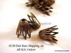 10 Antique Brass Bead Cap Fancy Star 9x8mm by allearringsandsuppli