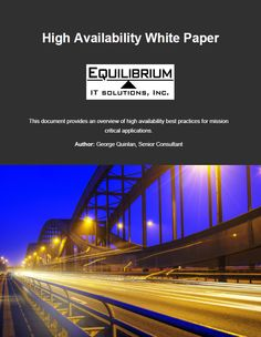 Don't miss our High Availability White Paper